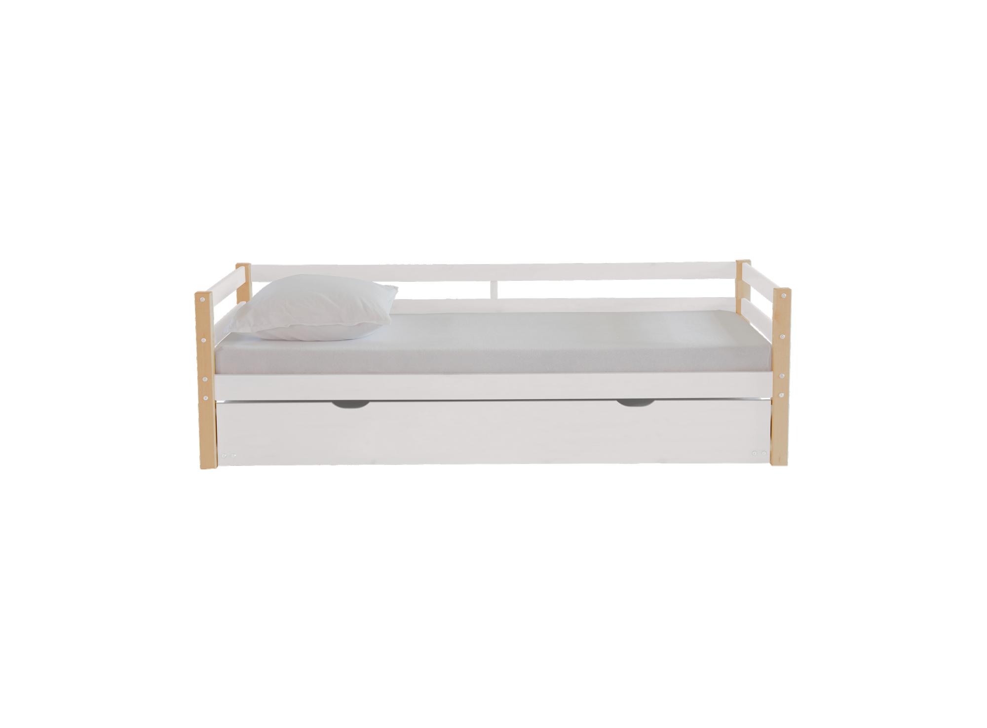 lit gigogne 90x190 cm pin blanc pieds naturel fly. Black Bedroom Furniture Sets. Home Design Ideas