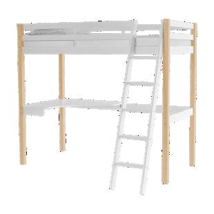 FLY-plateau d'angle pin vernis blanchi pour lit haut