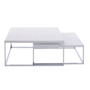 FLY-set de 2 tables basses blanches mat