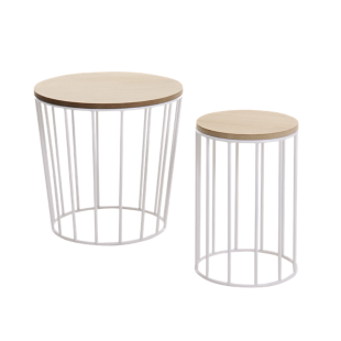 FLY-set de 2 tables basses  blanches