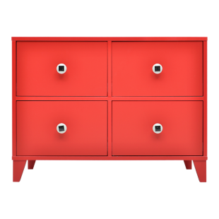 FLY-commode 4 tiroirs rouge