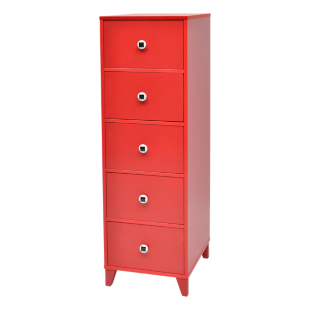 FLY-chiffonnier 5 tiroirs rouge