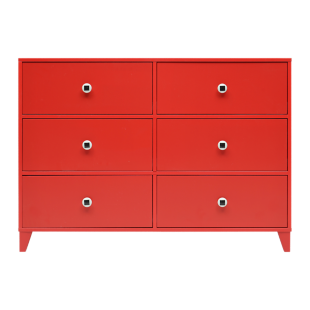 FLY-commode 6 tiroirs rouge