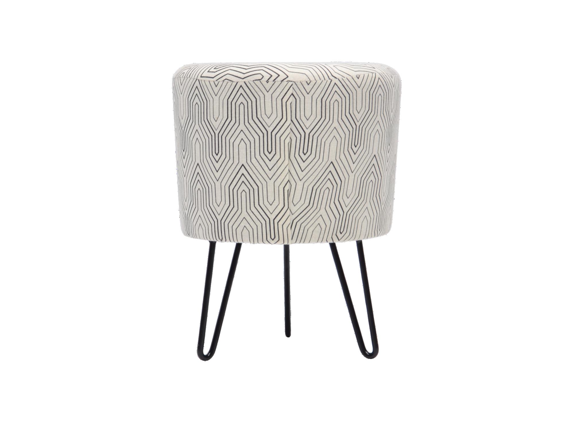 Pouf h39 blanc et noir structure en panneau de fibres de bois de moye ...