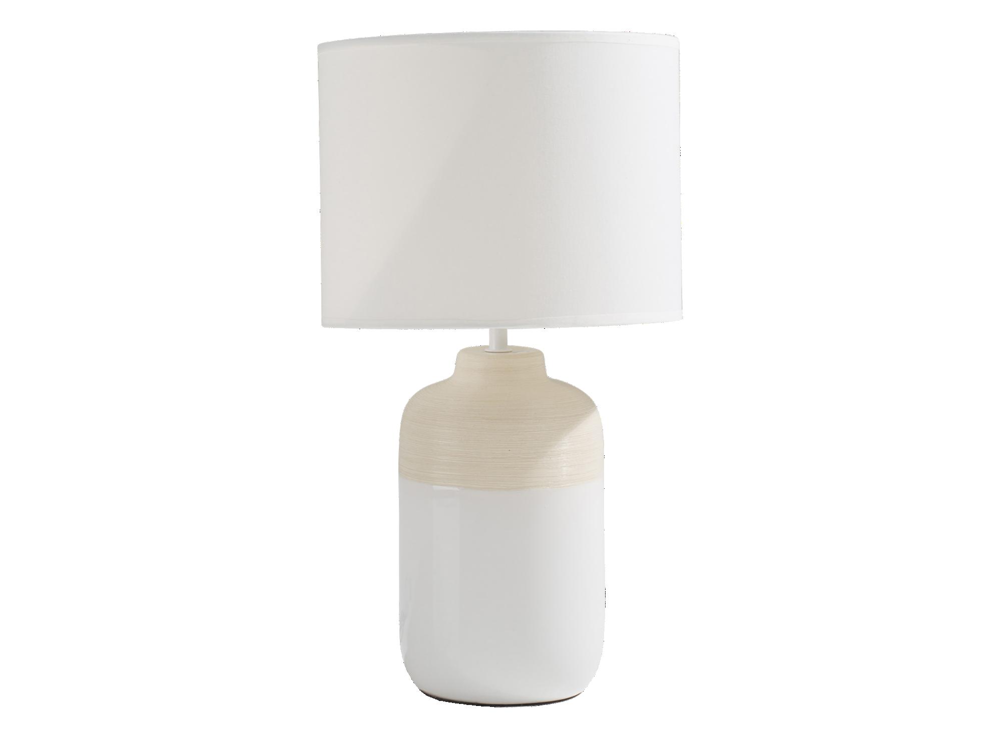 Lampe h47cm abat jour dimensions 26x26x20cm, 100 % coton coloris ivoi ...
