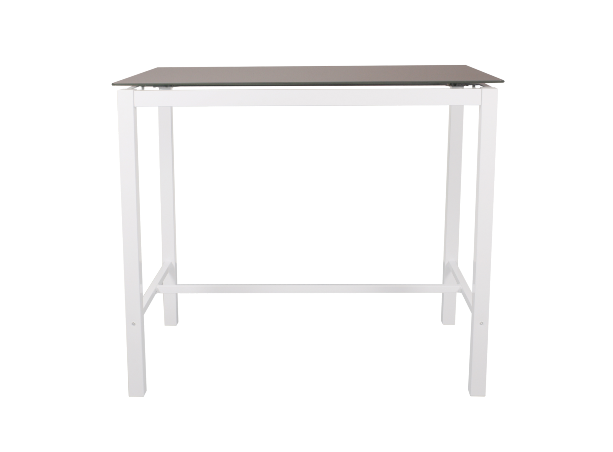 Table haute avec allonge blanc verre gris fly for Table haute en verre
