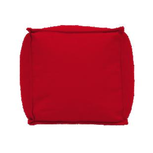 FLY-pouf carre canvas gris rouge