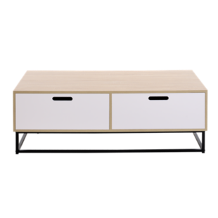 FLY-table basse 2 tiroirs blanc/pieds metal