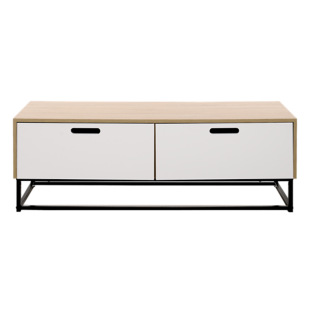 FLY-mtv 2 tiroirs blanc/pieds metal