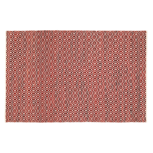 FLY-tapis laine/coton 160x230 rouge/blanc