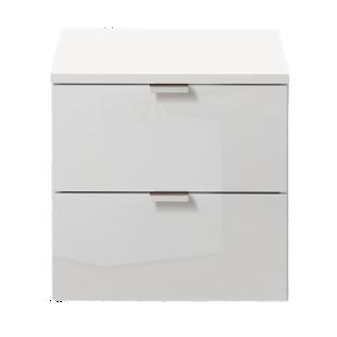FLY-chevet blanc laque 2 tiroirs