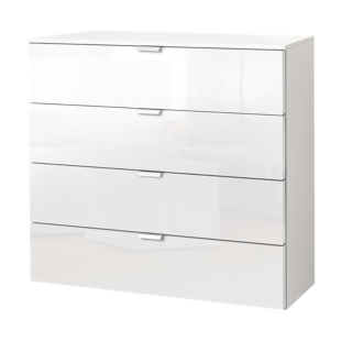 FLY-commode blanc laque 4 tiroirs