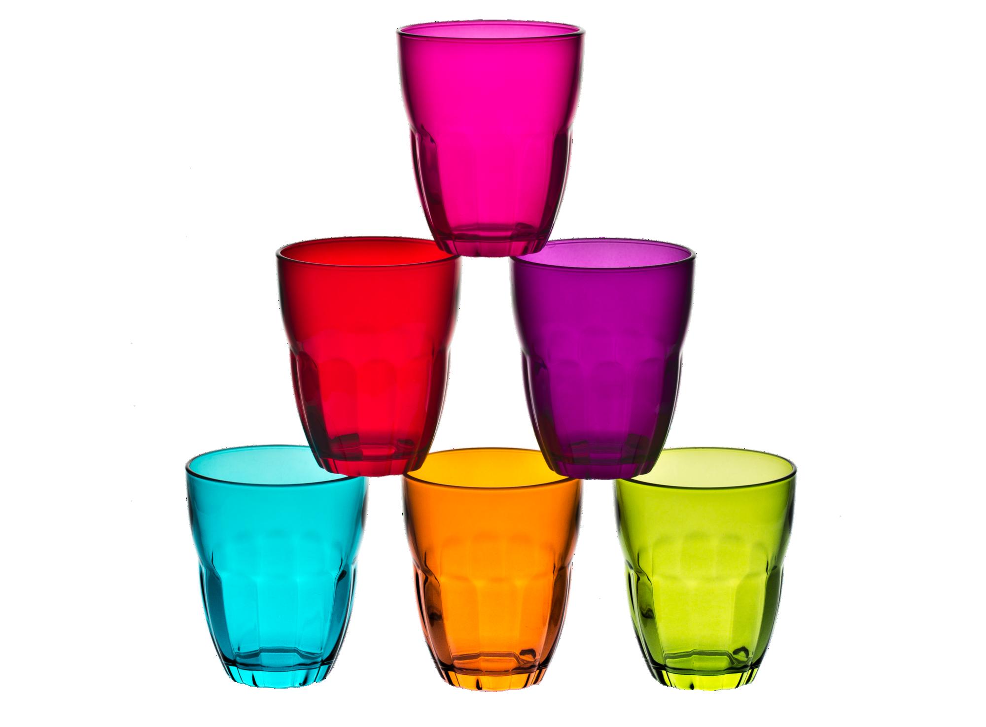 Lot de 6 gobelets multicolores 23cl en verre mecanique brut  contenan ...