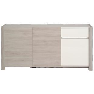 FLY-bahut 3 portes 1 tiroir chene gris/blanc