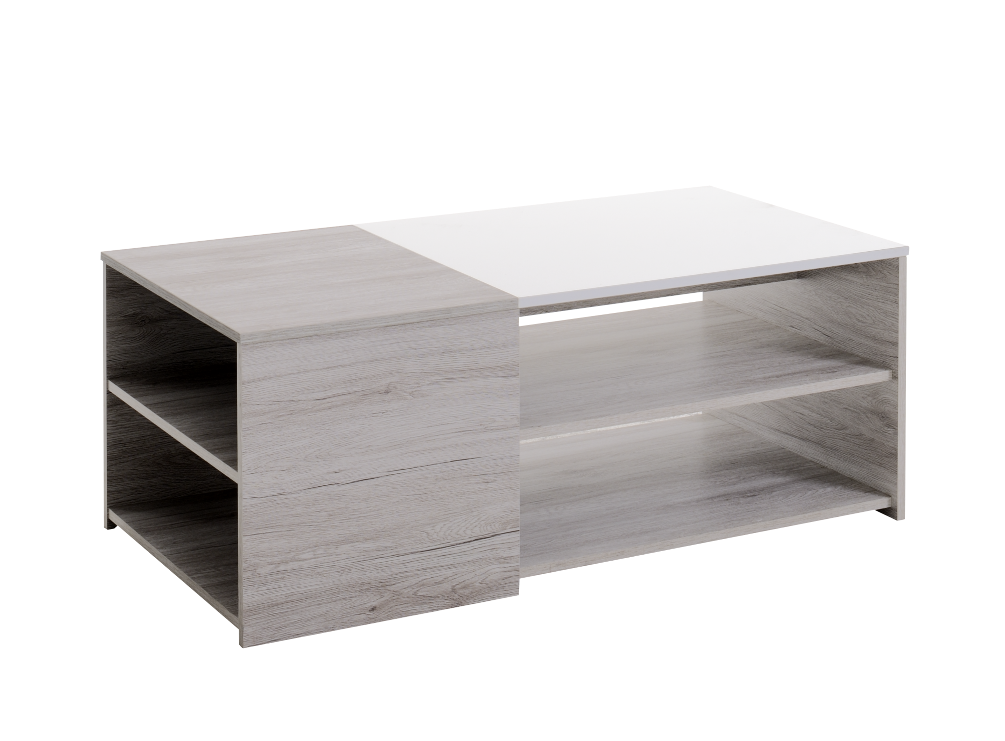table basse chene gris blanc fly. Black Bedroom Furniture Sets. Home Design Ideas