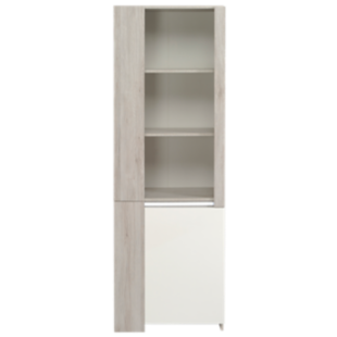 FLY-vitrine 2 portes chene gris/blanc