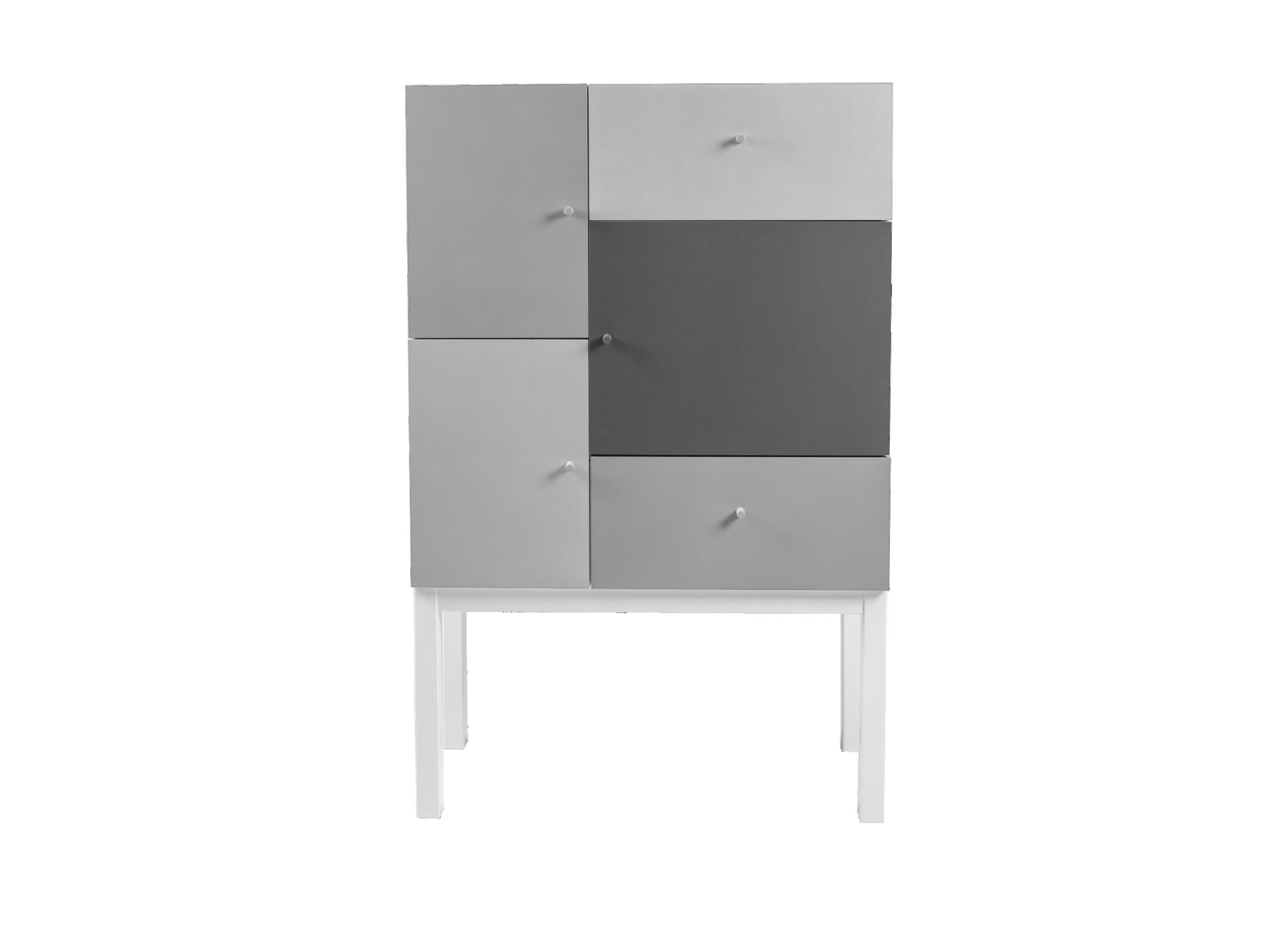 Rangement 3 portes 2 tiroirs structure en panneau de particules melam ...