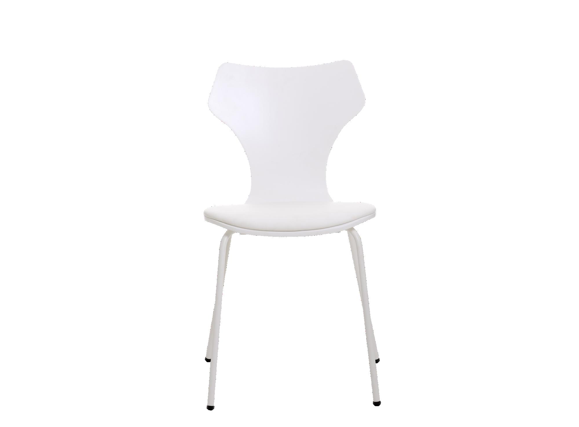 Chaise laque blanc assise et dossier en multiplis de bouleau et tille ...
