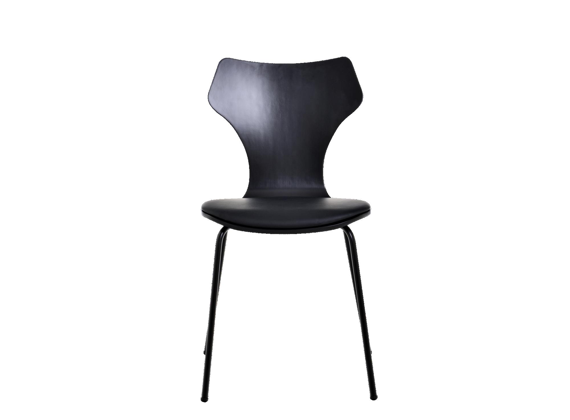 Chaise laque noir assise et dossier en multiplis de bouleau et tilleu ...