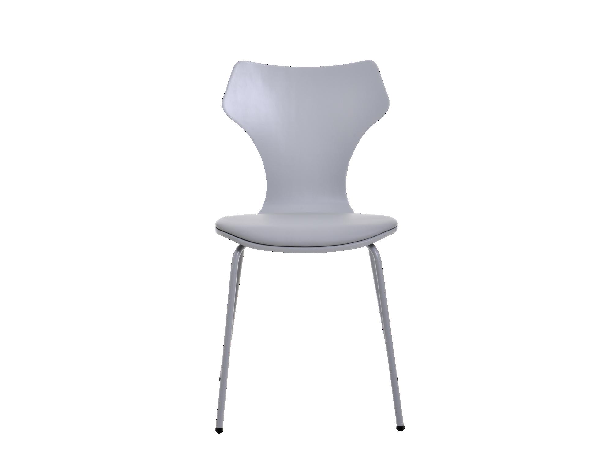 Chaise laque gris assise et dossier en multiplis de bouleau et tilleu ...