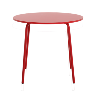 FLY-table ronde d90 laquee rouge