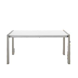 FLY-table extensible l160 a 240 cm acier brosse/blanc