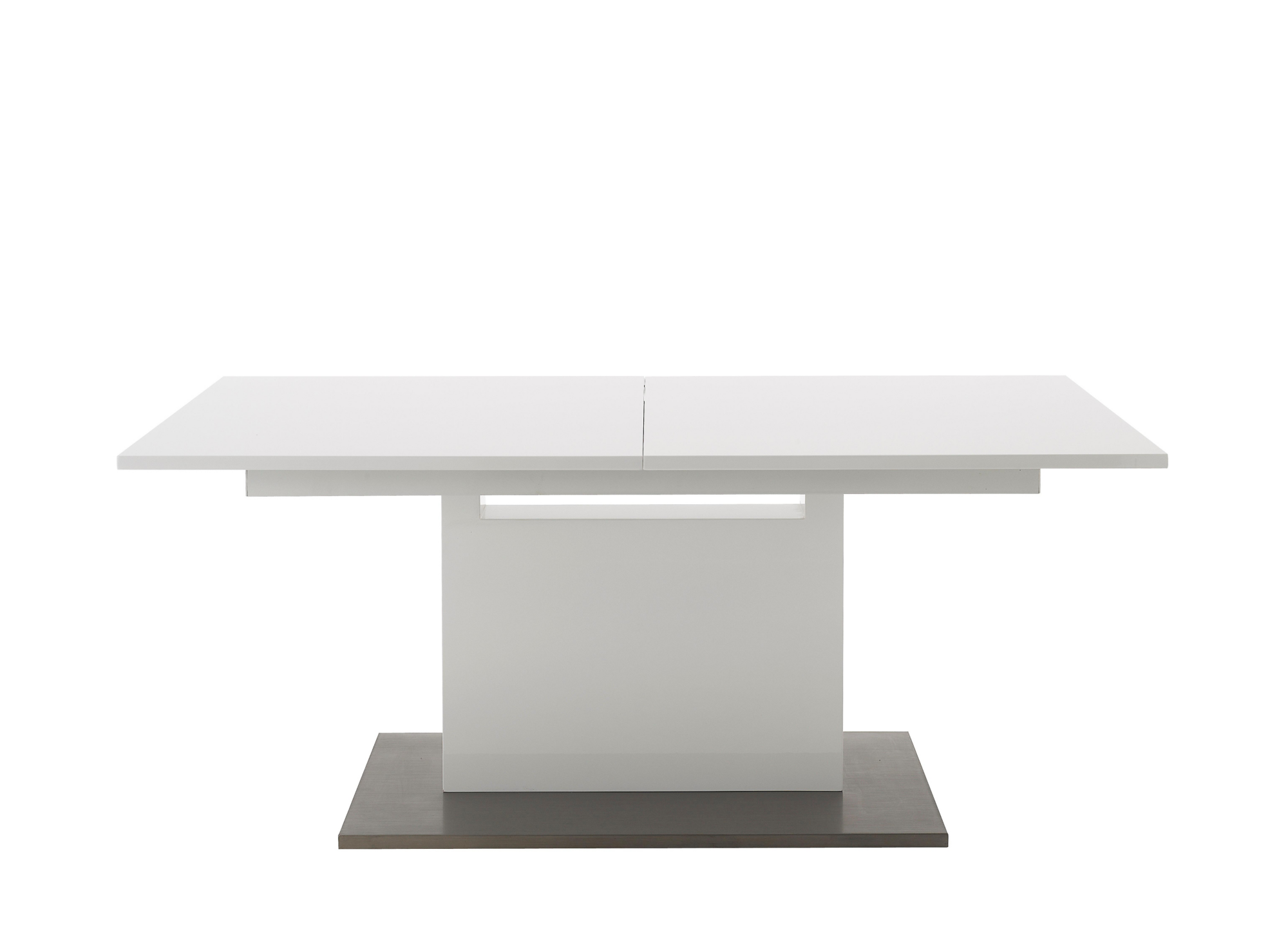 Table extensible l180 a 240 cm blanc brillant fly for Pieds de table 90 cm