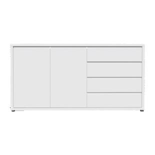 FLY-bahut 2 portes 4 tiroirs laque blanc