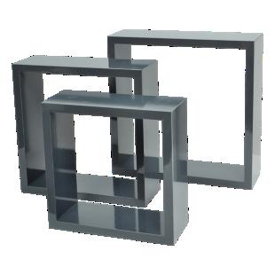 FLY-set de 3 cubes gris brillant