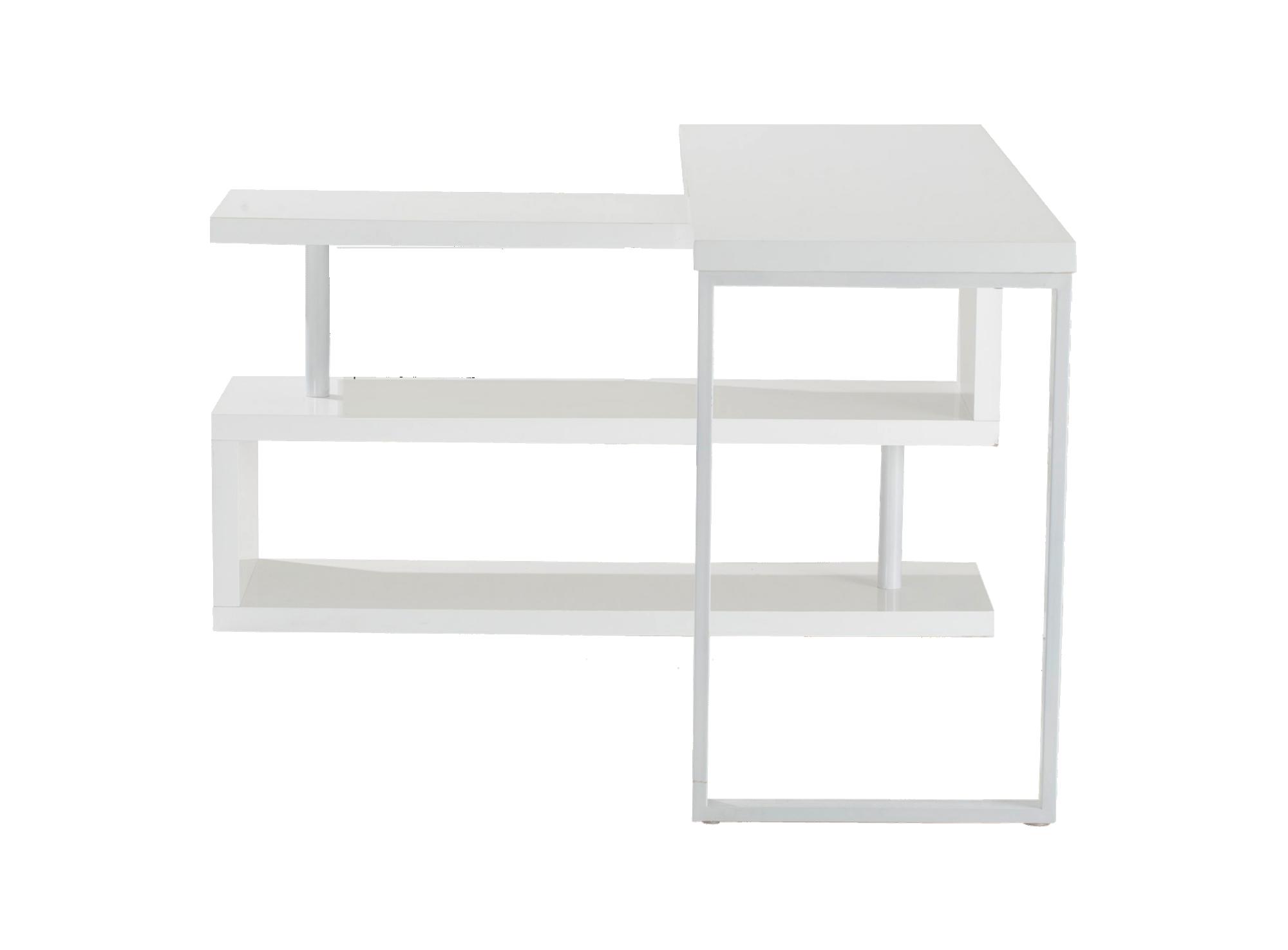 Bureau d 39 angle blanc brillant bureau bureau meuble fly for Meuble d angle blanc