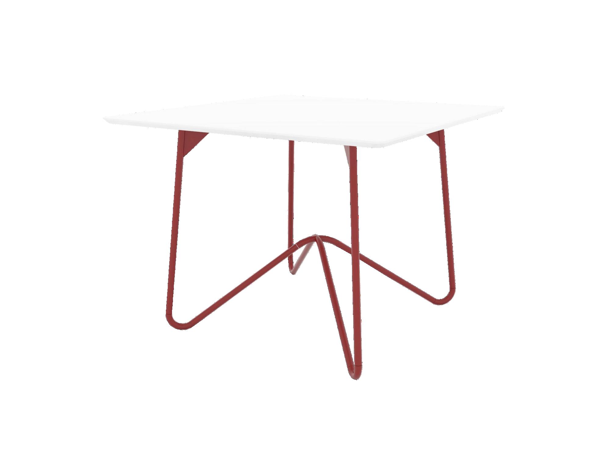 Table carree structure et pietement en acie r revetu epoxy coloris ro ...