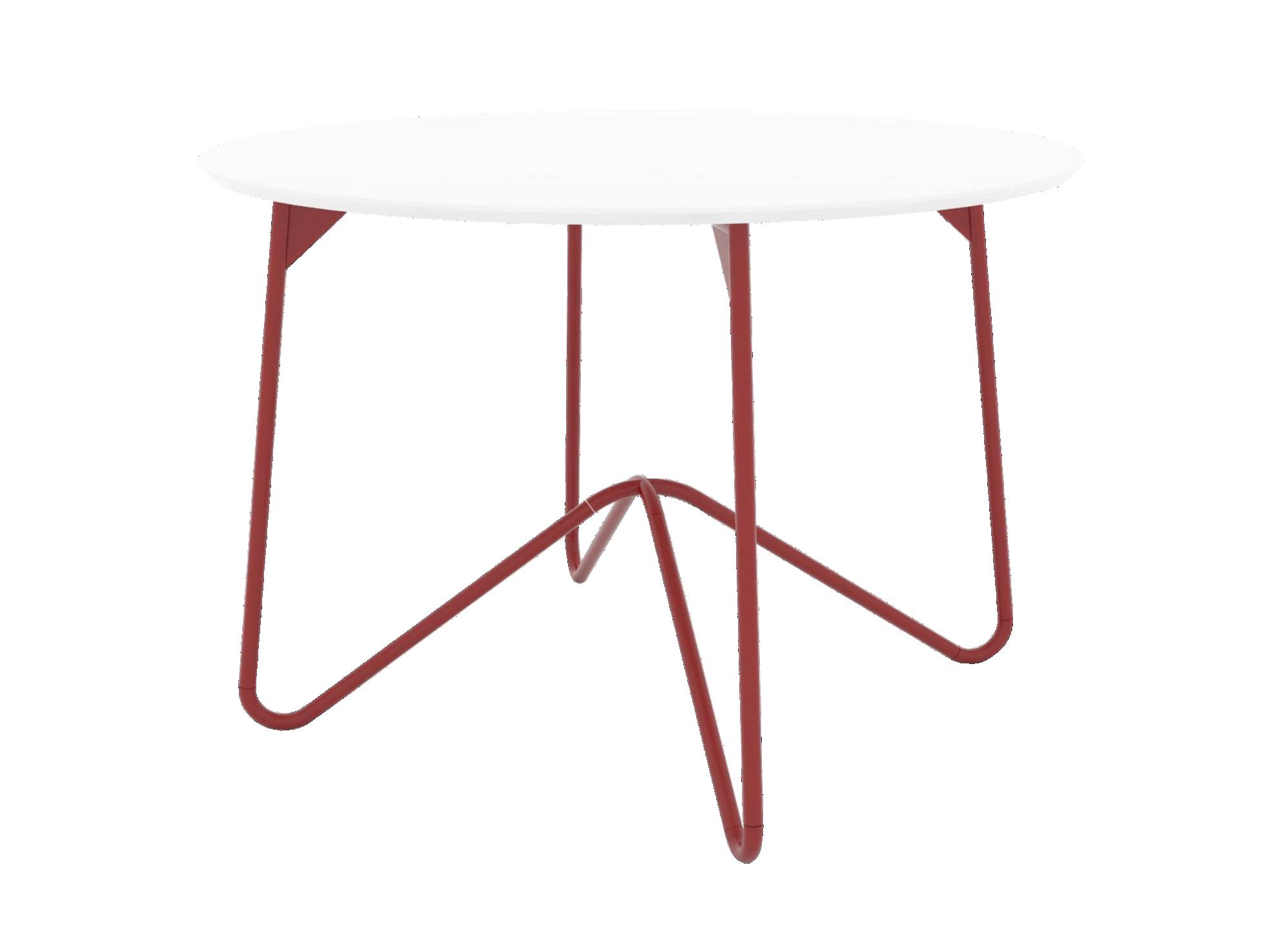 Table ronde structure et pietement en acie r revetu epoxy coloris rou ...