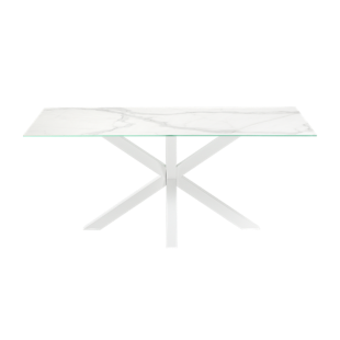 FLY-table rectangulaire blanc marbre/blanc l160