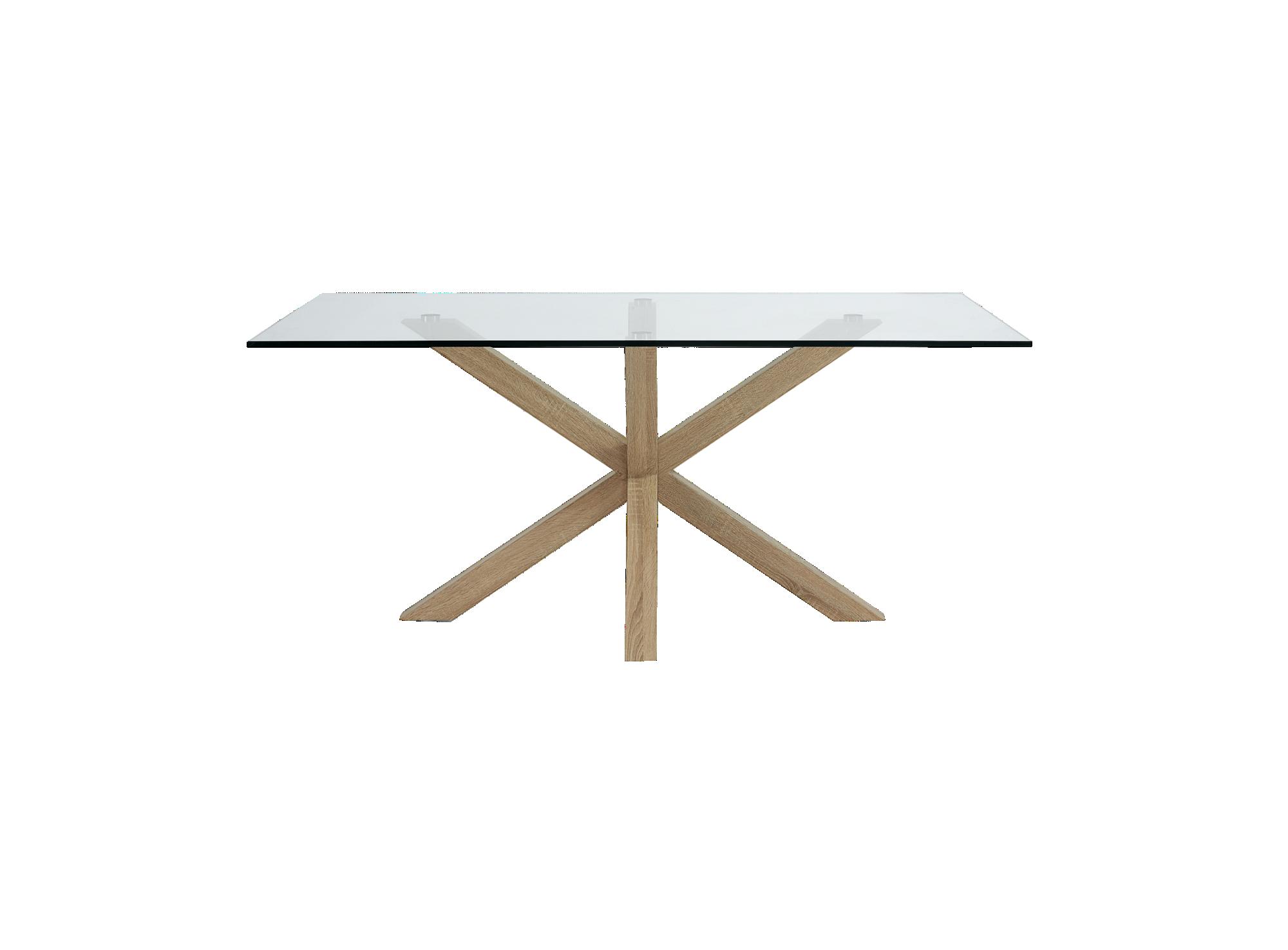 Table imitation chene/verre structure et pietement en metal (acier) r ...