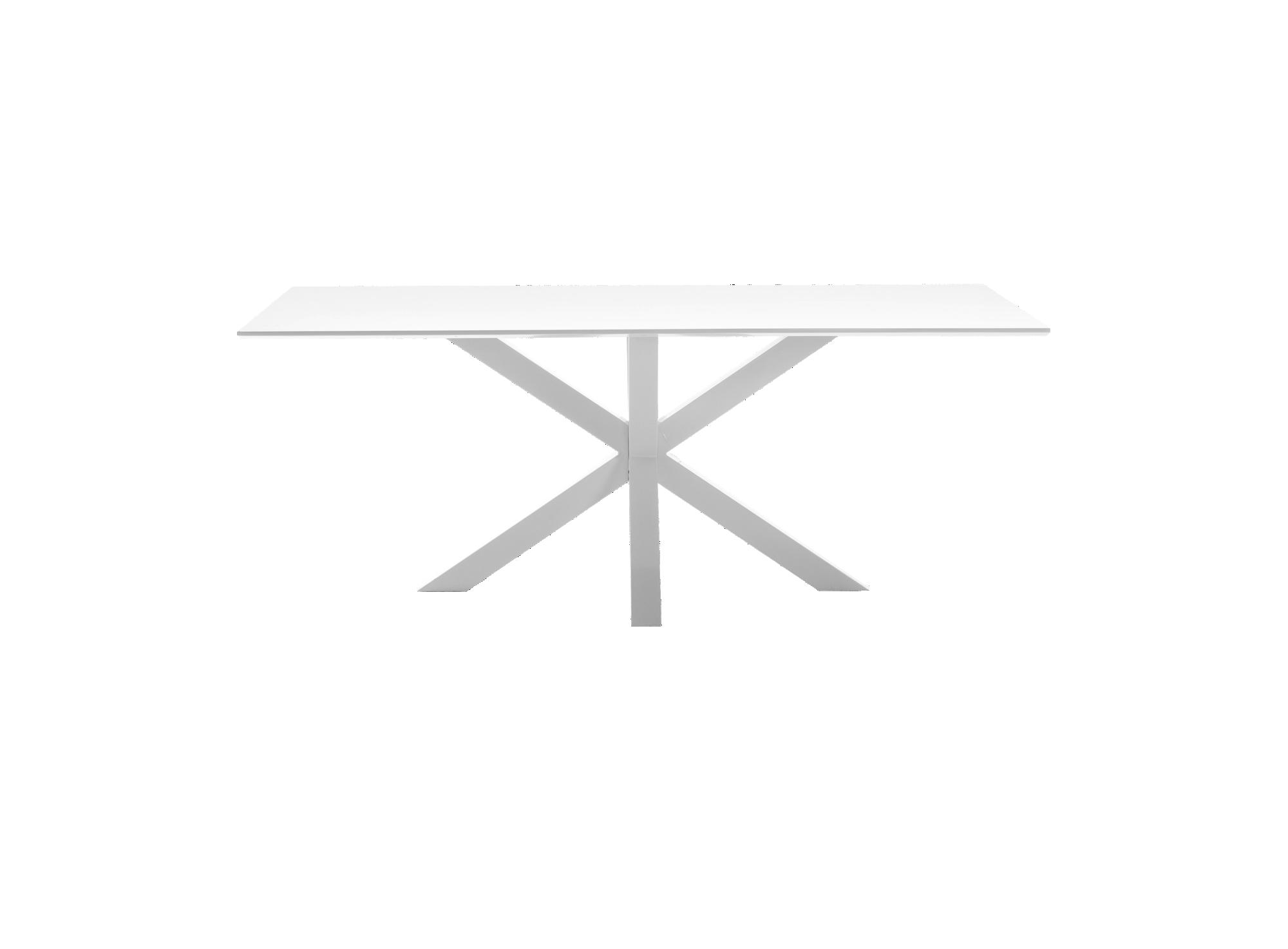 Table metal blanc/laque blanc mate structure et pietement en metal (a ...
