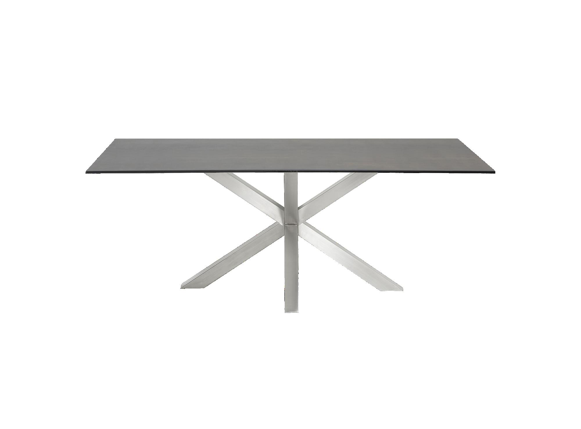 Table rectangulaire gris acier l200 fly for Meuble acier fly