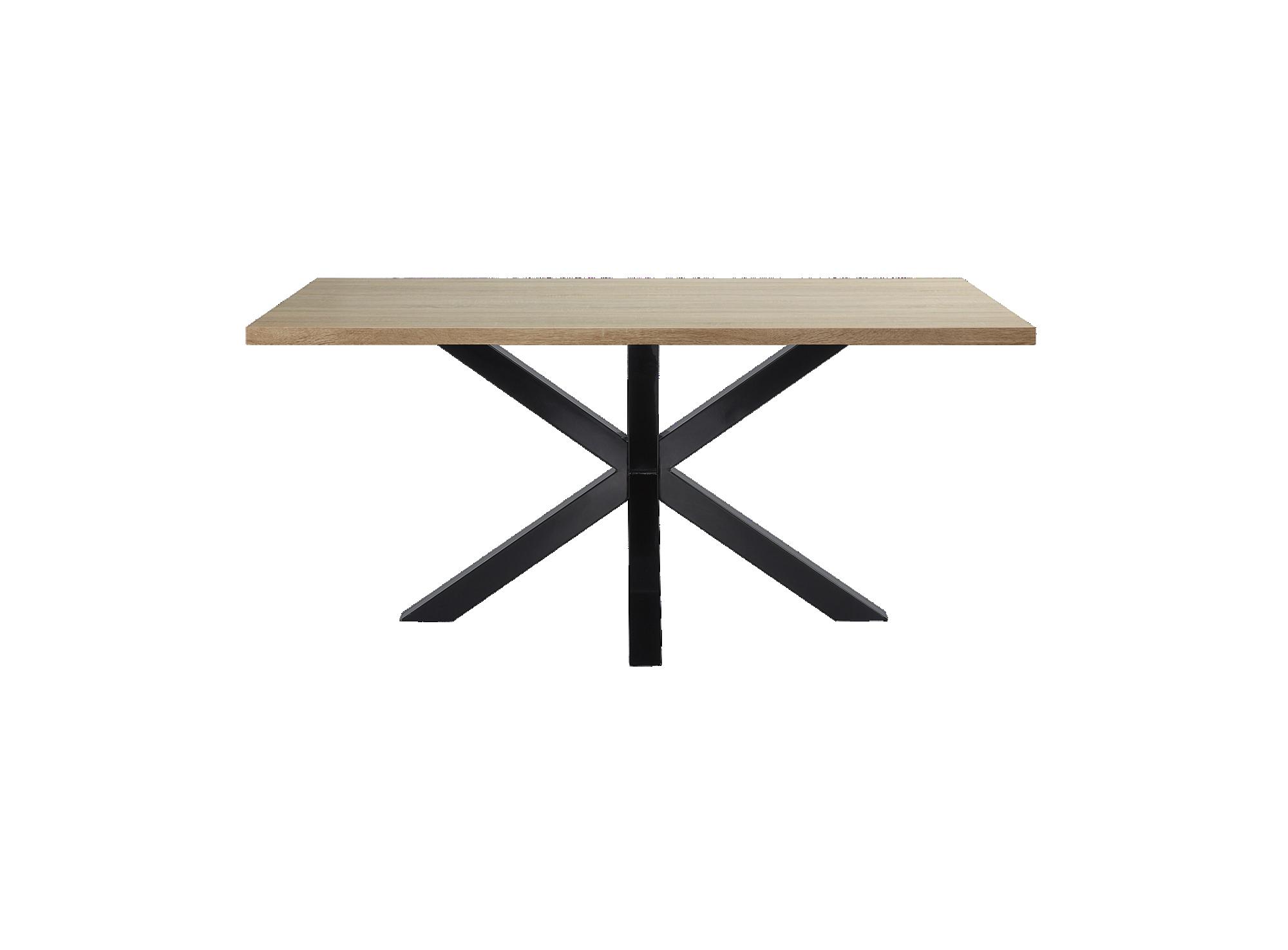 Table metal noir/imit chene structure et pietement en metal (acier) r ...