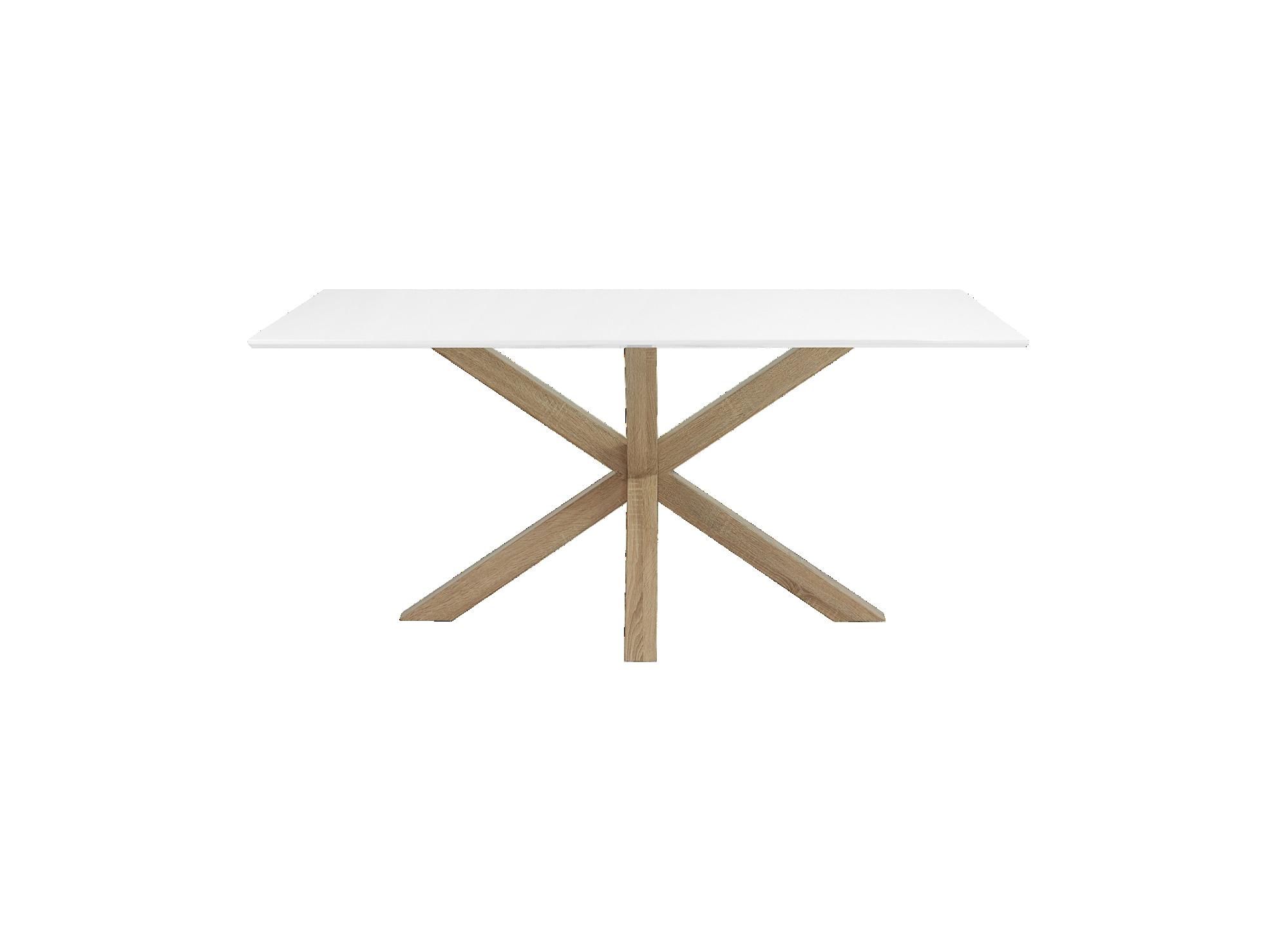 Table imitation chene/laq.blc mate structure et pietement en metal (a ...
