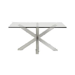 FLY-table rectangulaire verre/acier l160