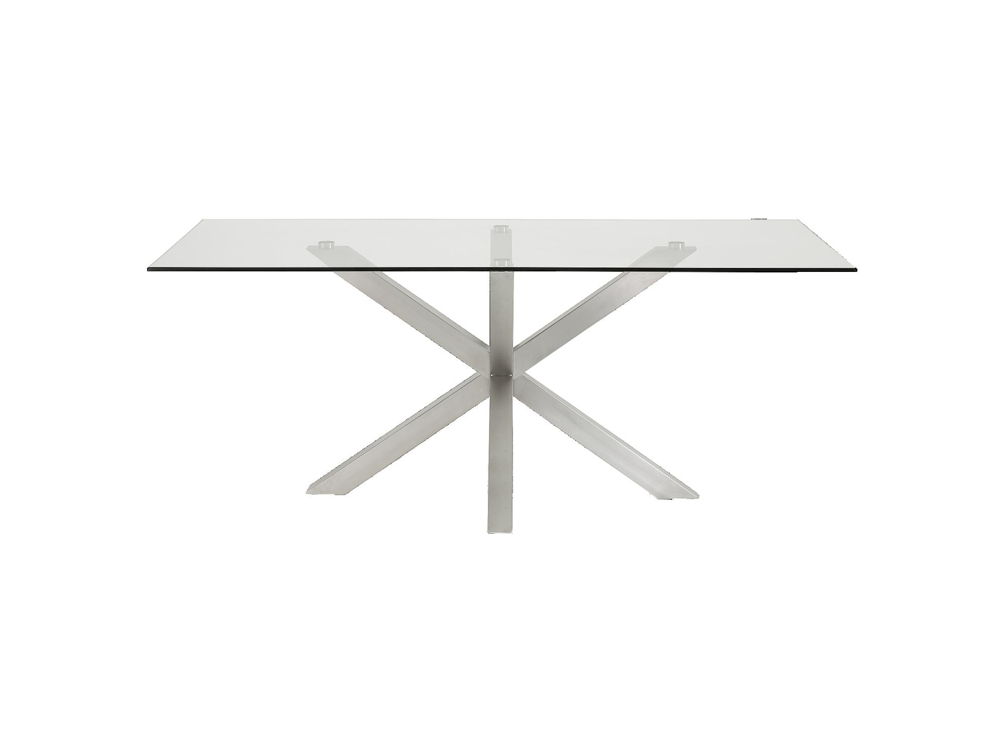 Table acier mat/verre structure et pietement en acier finition inox b ...