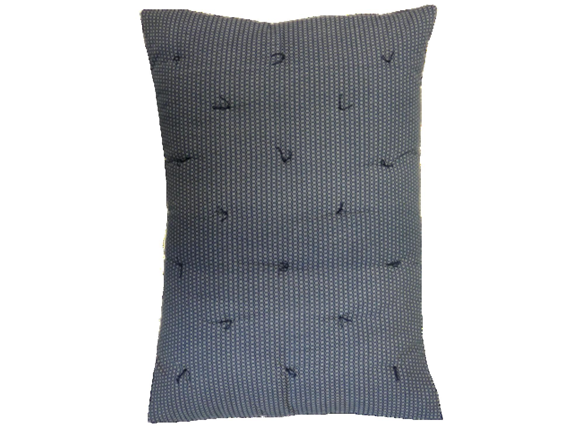 Coussin 50x70 revetu 100% coton garni 100% polyester coloris bleu/bei ...