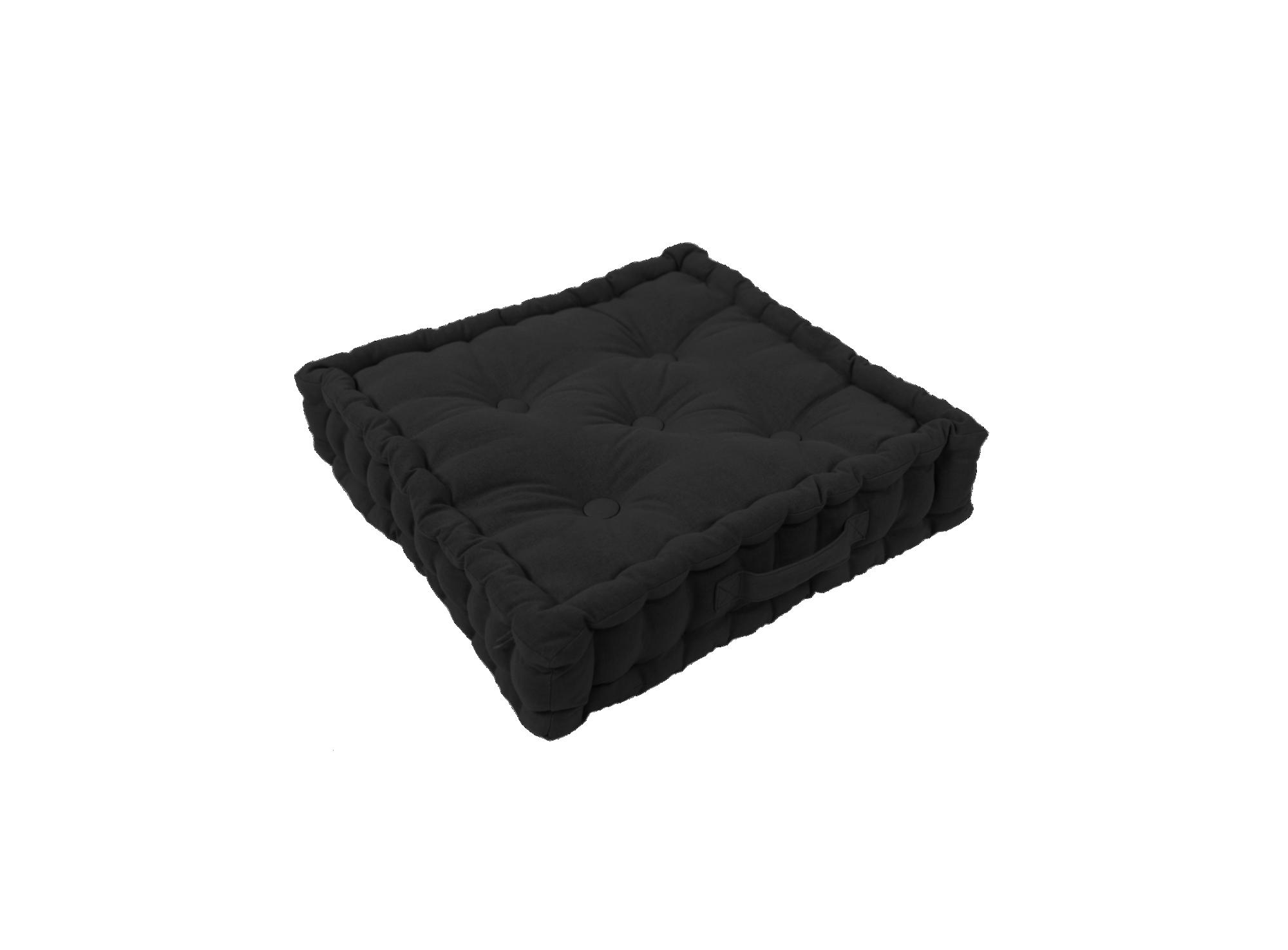 Coussin de sol  revetu 100% coton garni 100% coton coloris noir densi ...