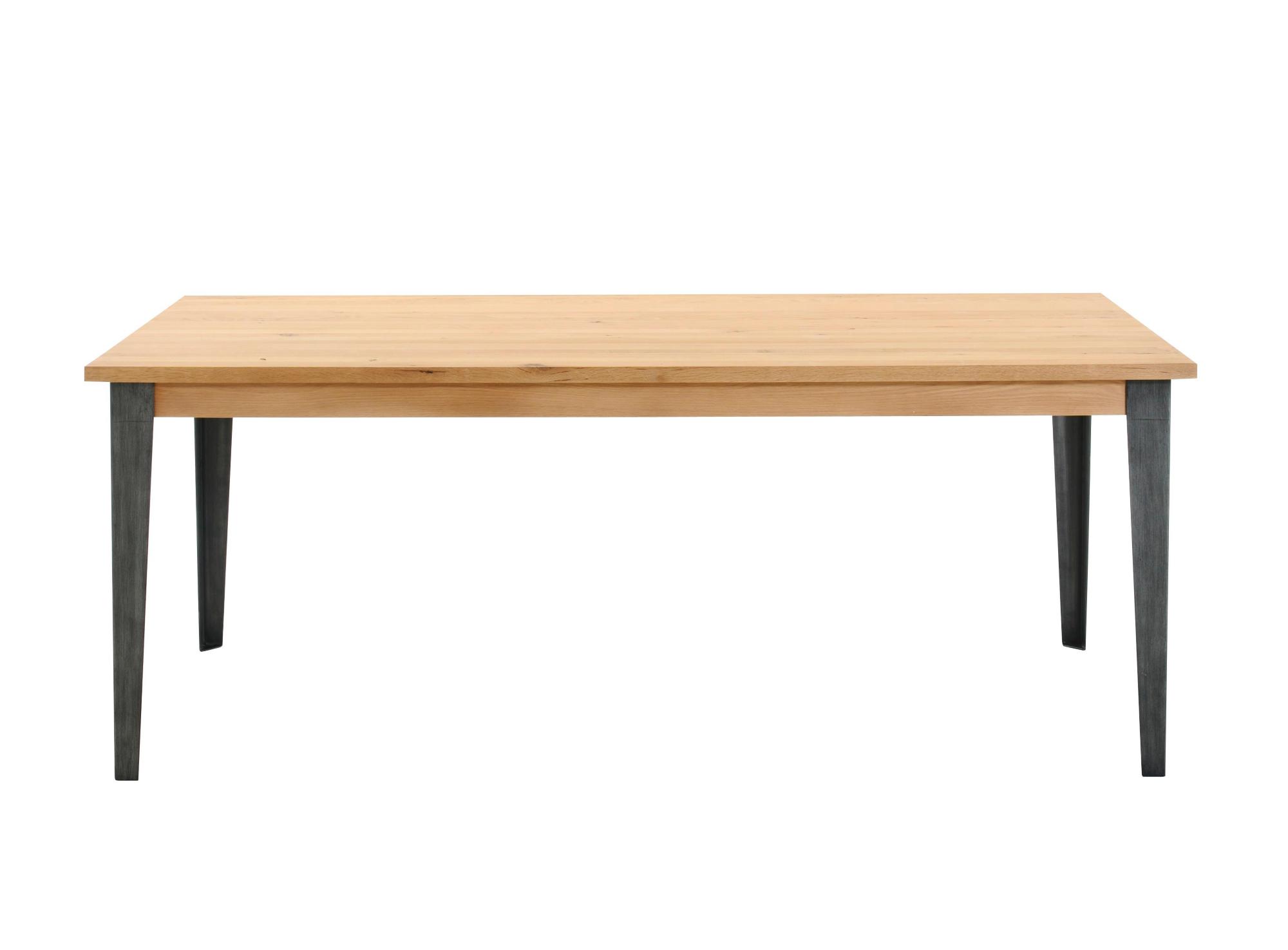 Table rectangulaire. pietement en fer laque epoxy noir, patine gris.p ...
