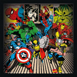 FLY-affiche encadree 26x26 cm heroes