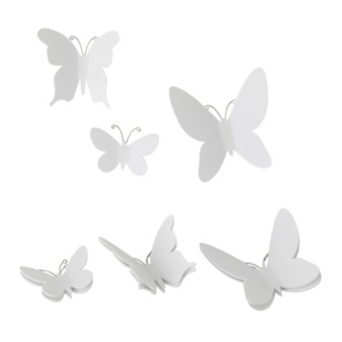 FLY-lot de 9 decorations murales papillons blancs