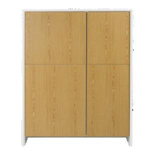 FLY-rangement 4 portes blanc/chene