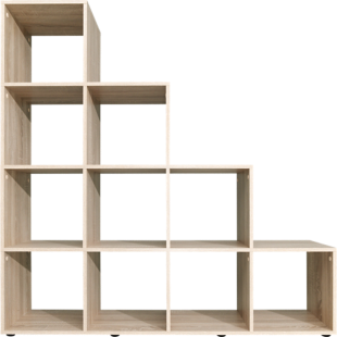 FLY-etagere escalier 10 cases chene