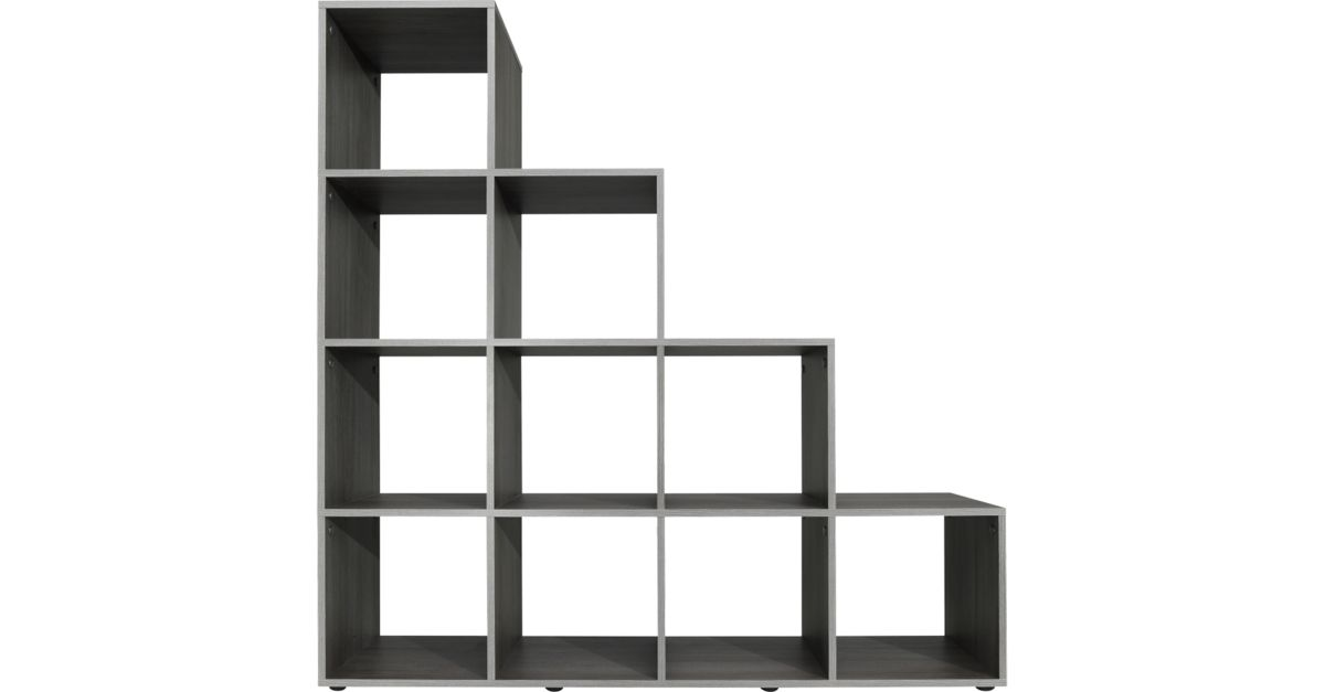 etagere escalier 10 cases gris biblioth que salon s jour meuble fly. Black Bedroom Furniture Sets. Home Design Ideas