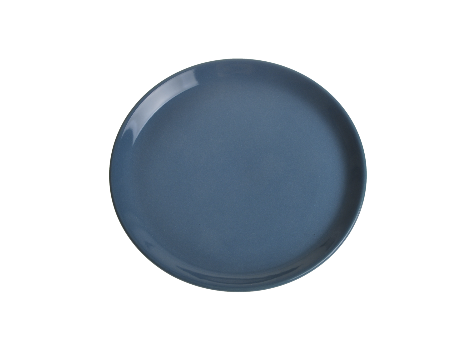 Assiette plate en faience emaillee coloris bleu resiste au lave-vaiss ...