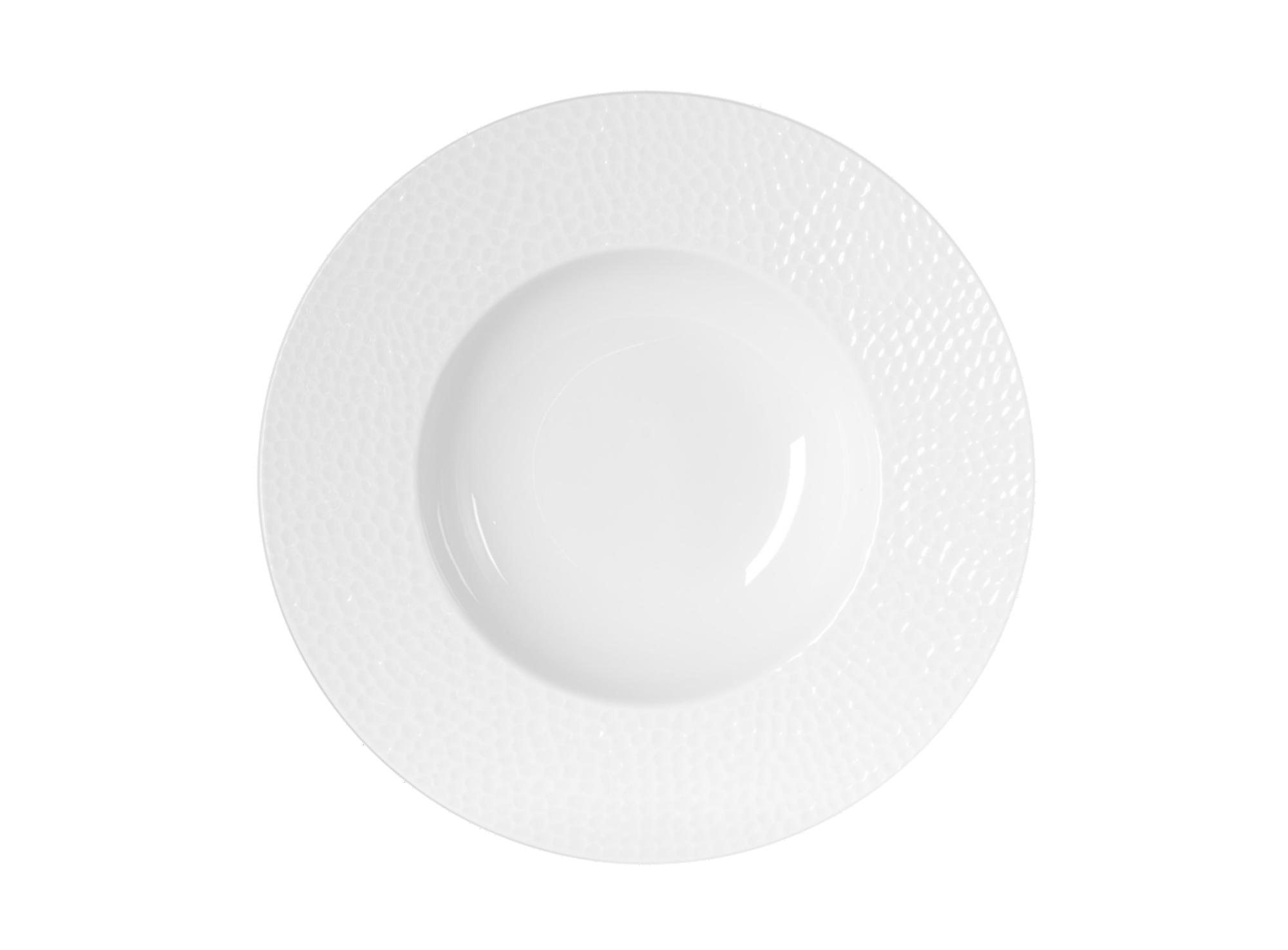 Assiette creuse d.23cm en porcelaine blanc a relief - resiste au lave ...